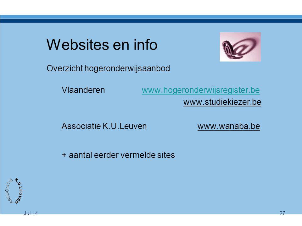 Jul-1427 Websites en info Overzicht hogeronderwijsaanbod Vlaanderen www.hogeronderwijsregister.bewww.hogeronderwijsregister.be www.studiekiezer.be Ass