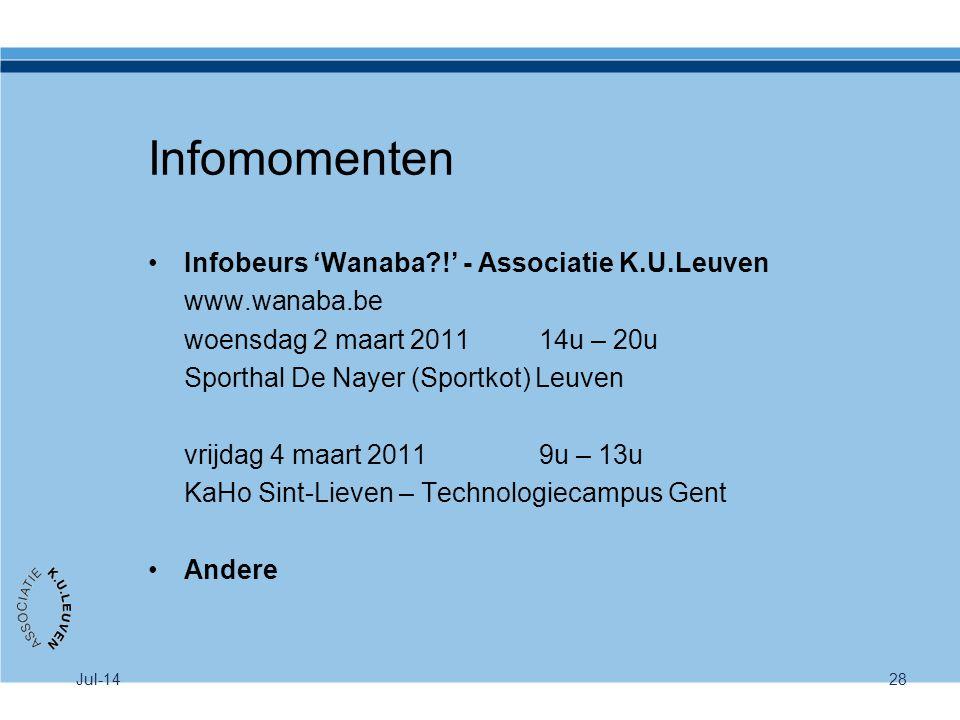 Jul-1428 Infomomenten Infobeurs 'Wanaba?!' - Associatie K.U.Leuven www.wanaba.be woensdag 2 maart 2011 14u – 20u Sporthal De Nayer (Sportkot) Leuven v