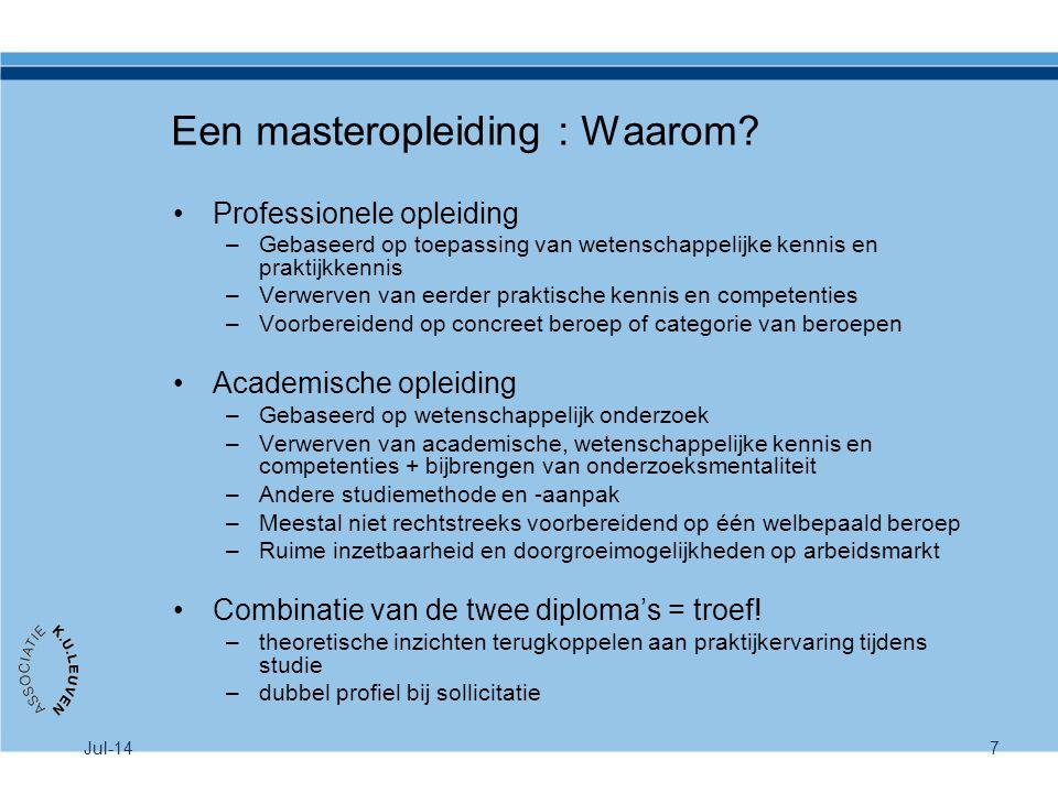 Een masteropleiding : Waarom? Professionele opleiding –Gebaseerd op toepassing van wetenschappelijke kennis en praktijkkennis –Verwerven van eerder pr