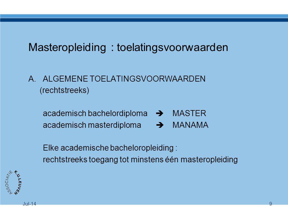 Jul-149 Masteropleiding : toelatingsvoorwaarden A.ALGEMENE TOELATINGSVOORWAARDEN (rechtstreeks) academisch bachelordiploma  MASTER academisch masterd