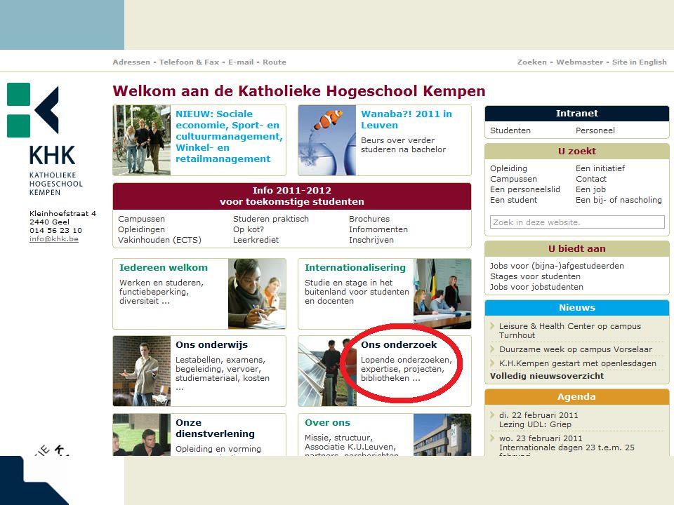 www.khk.be Beter zoeken via 'Find database'