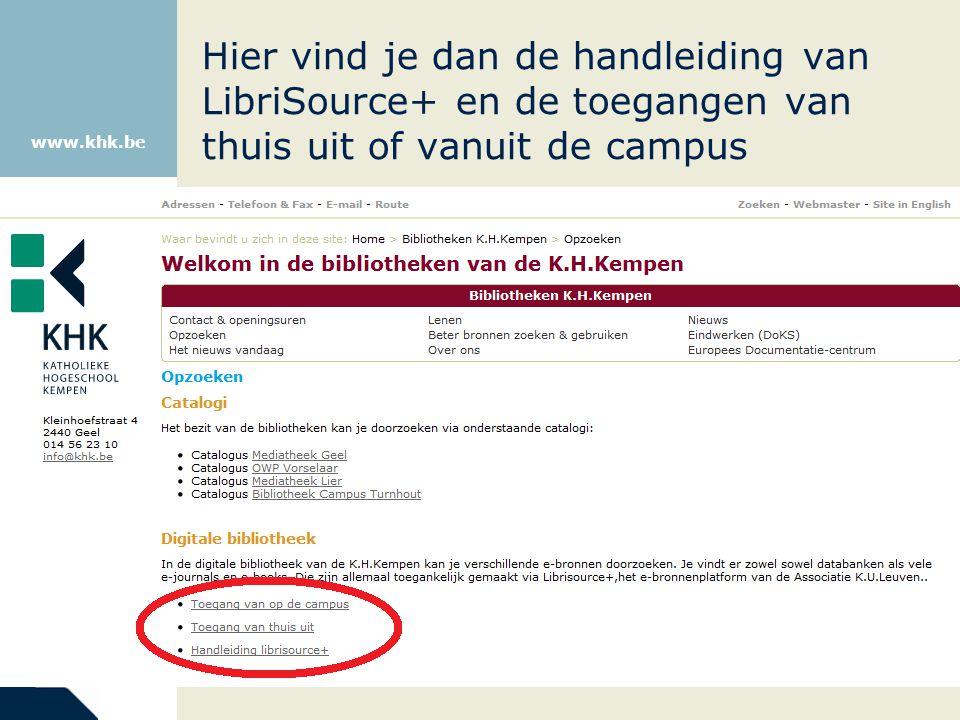 www.khk.be Je zoekt de databank die je nodig hebt via het alfabet.