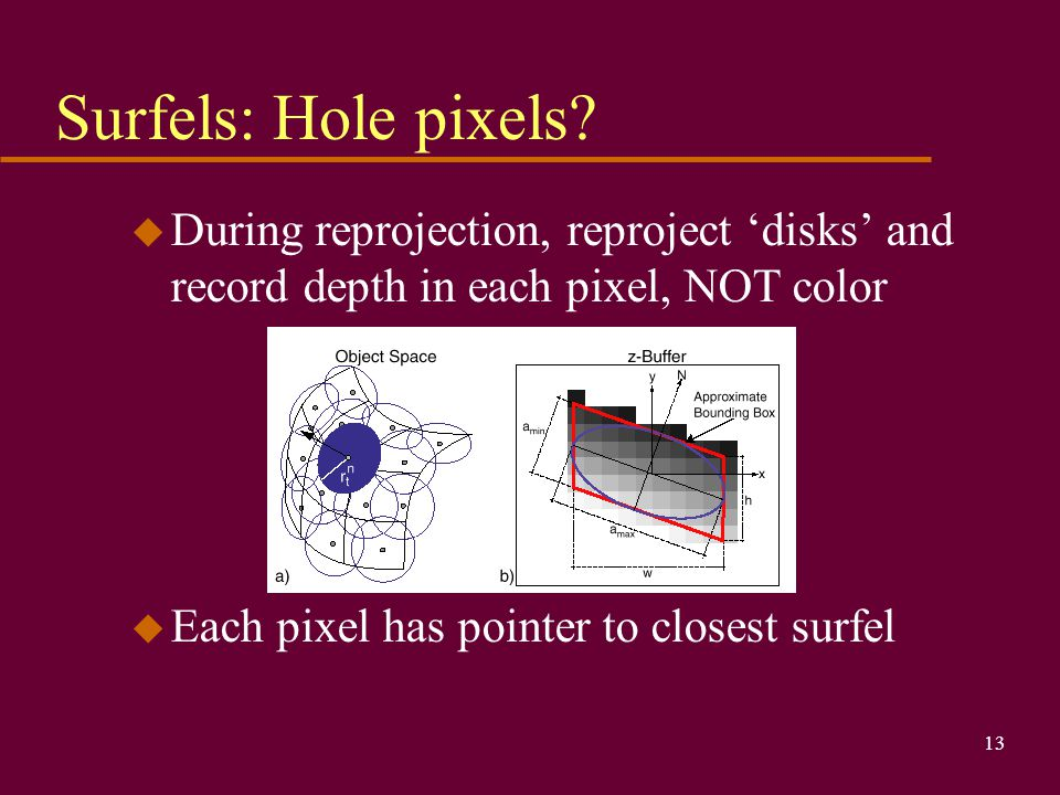13 Surfels: Hole pixels? u During reprojection, reproject 'disks' and record depth in each pixel, NOT color u Each pixel has pointer to closest surfel