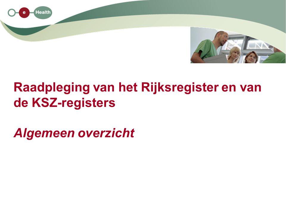 Raadpleging van het Rijksregister en van de KSZ-registers Algemeen overzicht