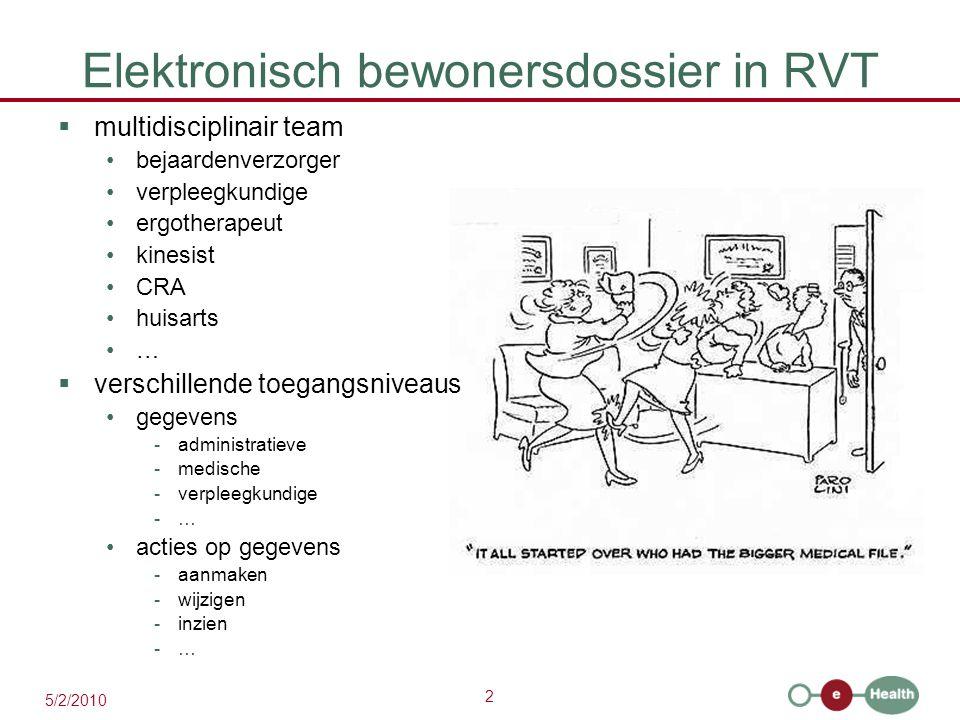 2 5/2/2010 Elektronisch bewonersdossier in RVT  multidisciplinair team bejaardenverzorger verpleegkundige ergotherapeut kinesist CRA huisarts …  ver