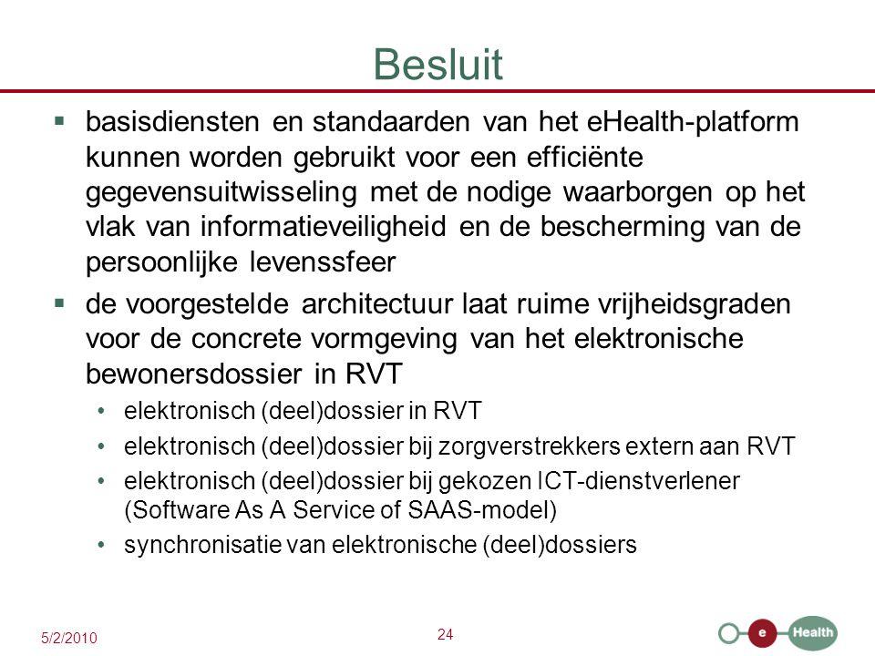 24 5/2/2010 Besluit  basisdiensten en standaarden van het eHealth-platform kunnen worden gebruikt voor een efficiënte gegevensuitwisseling met de nod