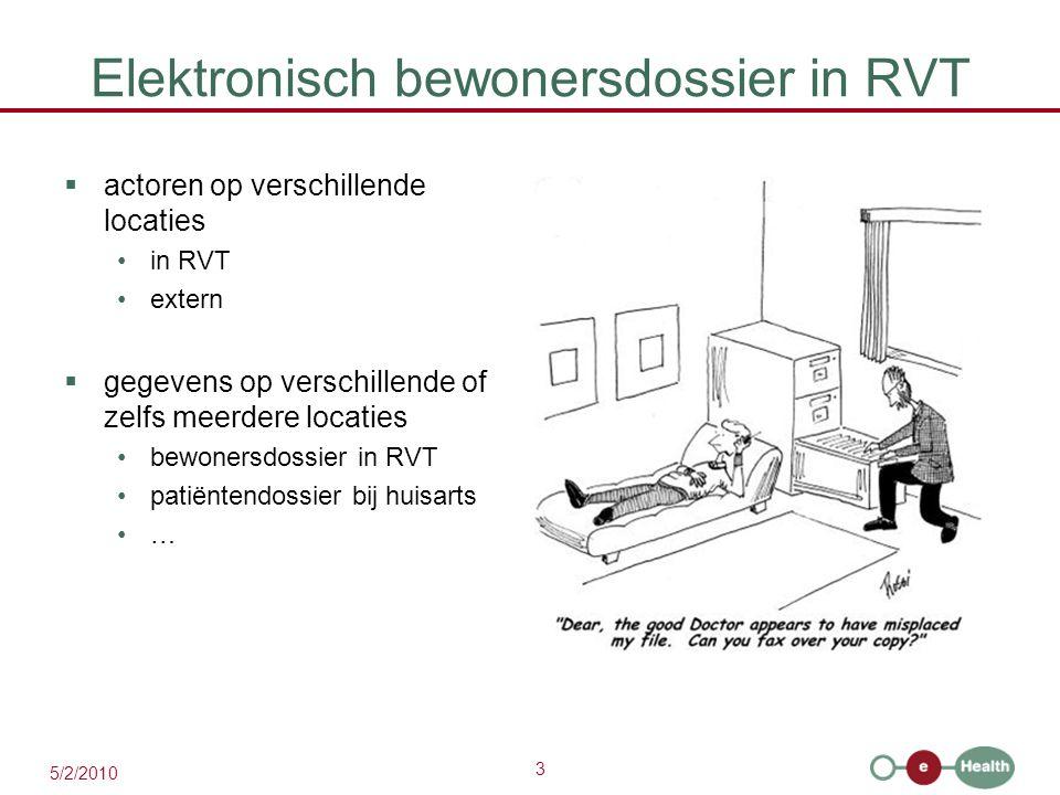 3 5/2/2010 Elektronisch bewonersdossier in RVT  actoren op verschillende locaties in RVT extern  gegevens op verschillende of zelfs meerdere locatie
