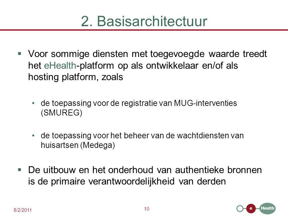 10 8/2/2011 2. Basisarchitectuur  Voor sommige diensten met toegevoegde waarde treedt het eHealth-platform op als ontwikkelaar en/of als hosting plat