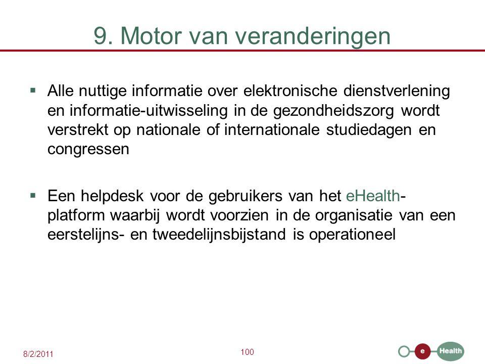 100 8/2/2011 9. Motor van veranderingen  Alle nuttige informatie over elektronische dienstverlening en informatie-uitwisseling in de gezondheidszorg