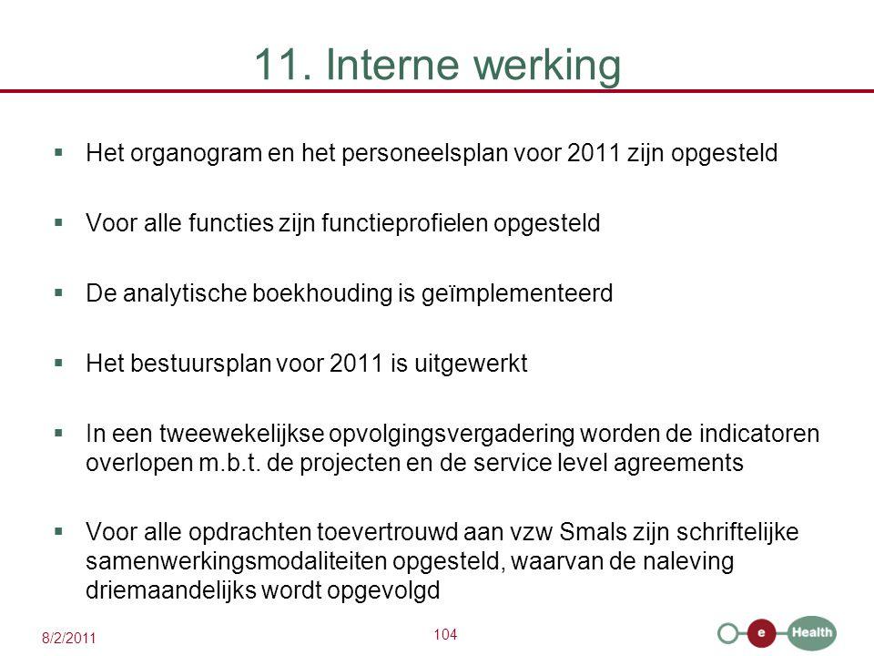 104 8/2/2011 11. Interne werking  Het organogram en het personeelsplan voor 2011 zijn opgesteld  Voor alle functies zijn functieprofielen opgesteld