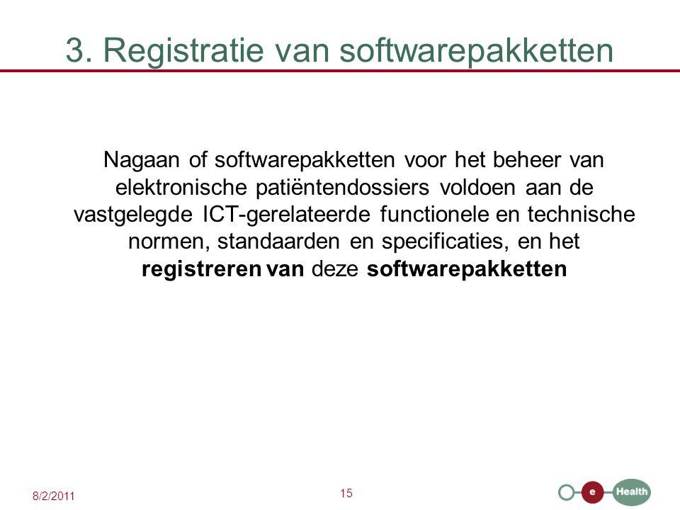 15 8/2/2011 3. Registratie van softwarepakketten Nagaan of softwarepakketten voor het beheer van elektronische patiëntendossiers voldoen aan de vastge