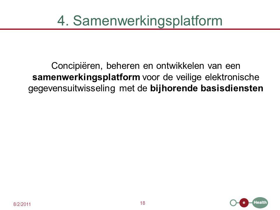 18 8/2/2011 4. Samenwerkingsplatform Concipiëren, beheren en ontwikkelen van een samenwerkingsplatform voor de veilige elektronische gegevensuitwissel