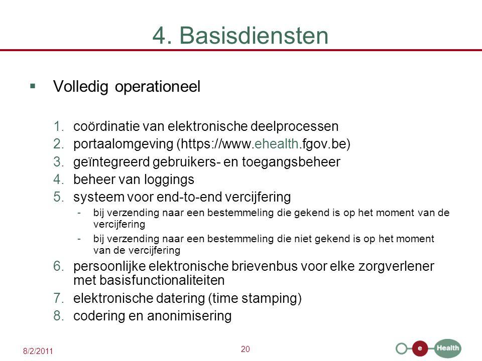 20 8/2/2011 4. Basisdiensten  Volledig operationeel 1.coördinatie van elektronische deelprocessen 2.portaalomgeving (https://www.ehealth.fgov.be) 3.g