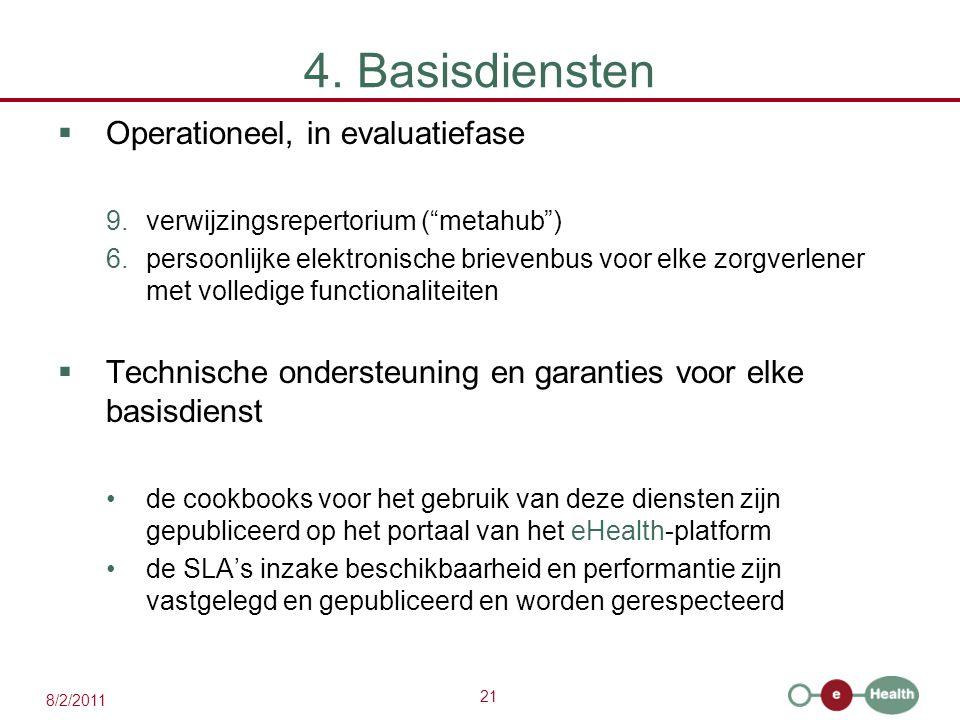 """21 8/2/2011 4. Basisdiensten  Operationeel, in evaluatiefase 9.verwijzingsrepertorium (""""metahub"""") 6.persoonlijke elektronische brievenbus voor elke z"""
