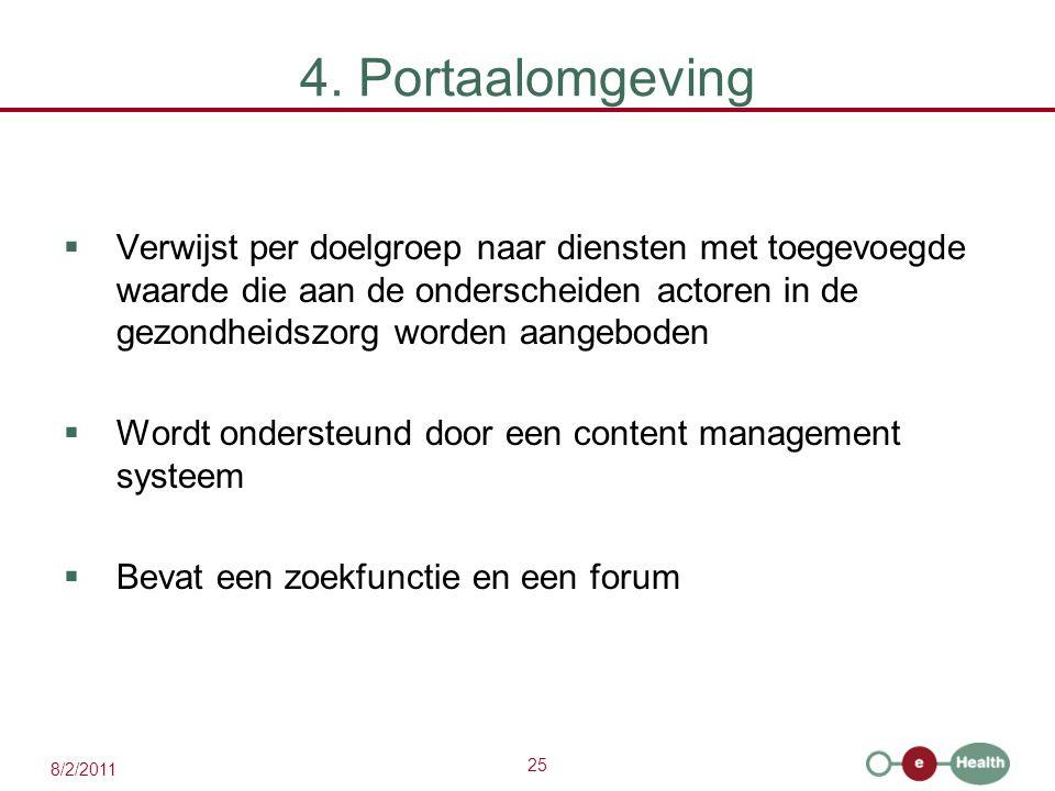 25 8/2/2011 4. Portaalomgeving  Verwijst per doelgroep naar diensten met toegevoegde waarde die aan de onderscheiden actoren in de gezondheidszorg wo