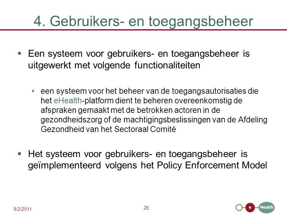 28 8/2/2011 4. Gebruikers- en toegangsbeheer  Een systeem voor gebruikers- en toegangsbeheer is uitgewerkt met volgende functionaliteiten een systeem