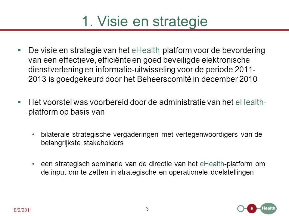 3 8/2/2011 1. Visie en strategie  De visie en strategie van het eHealth-platform voor de bevordering van een effectieve, efficiënte en goed beveiligd