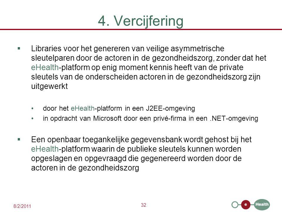 32 8/2/2011 4. Vercijfering  Libraries voor het genereren van veilige asymmetrische sleutelparen door de actoren in de gezondheidszorg, zonder dat he
