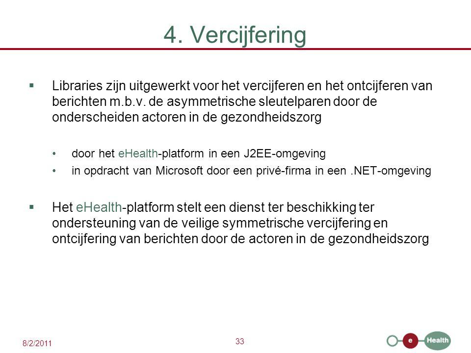 33 8/2/2011 4. Vercijfering  Libraries zijn uitgewerkt voor het vercijferen en het ontcijferen van berichten m.b.v. de asymmetrische sleutelparen doo