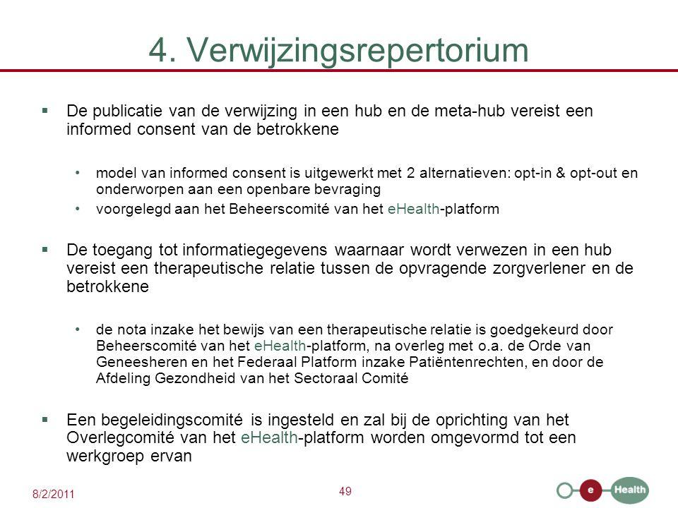 49 8/2/2011 4. Verwijzingsrepertorium  De publicatie van de verwijzing in een hub en de meta-hub vereist een informed consent van de betrokkene model