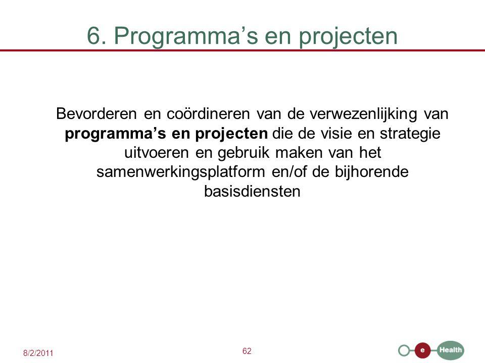 62 8/2/2011 6. Programma's en projecten Bevorderen en coördineren van de verwezenlijking van programma's en projecten die de visie en strategie uitvoe