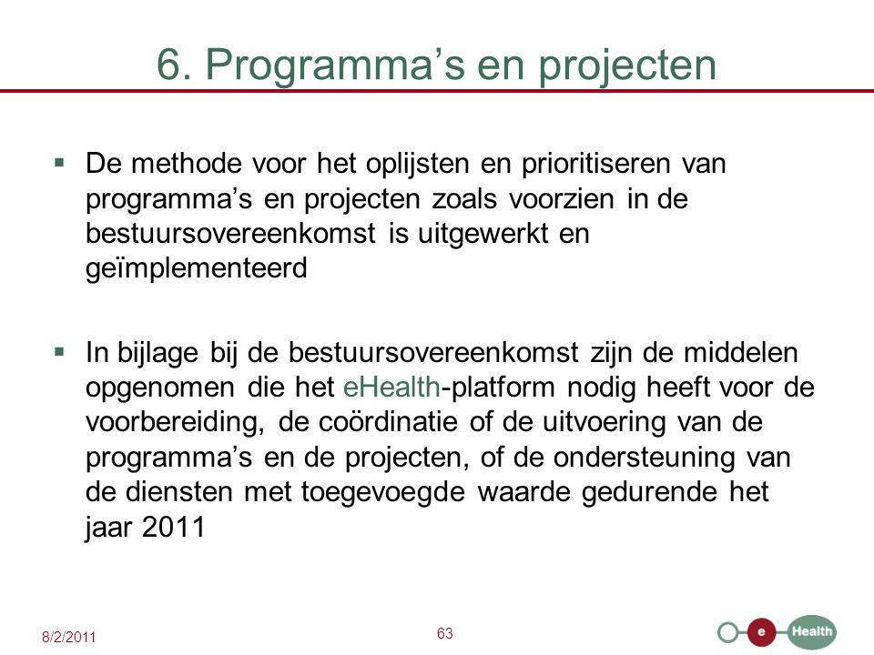 63 8/2/2011 6. Programma's en projecten  De methode voor het oplijsten en prioritiseren van programma's en projecten zoals voorzien in de bestuursove