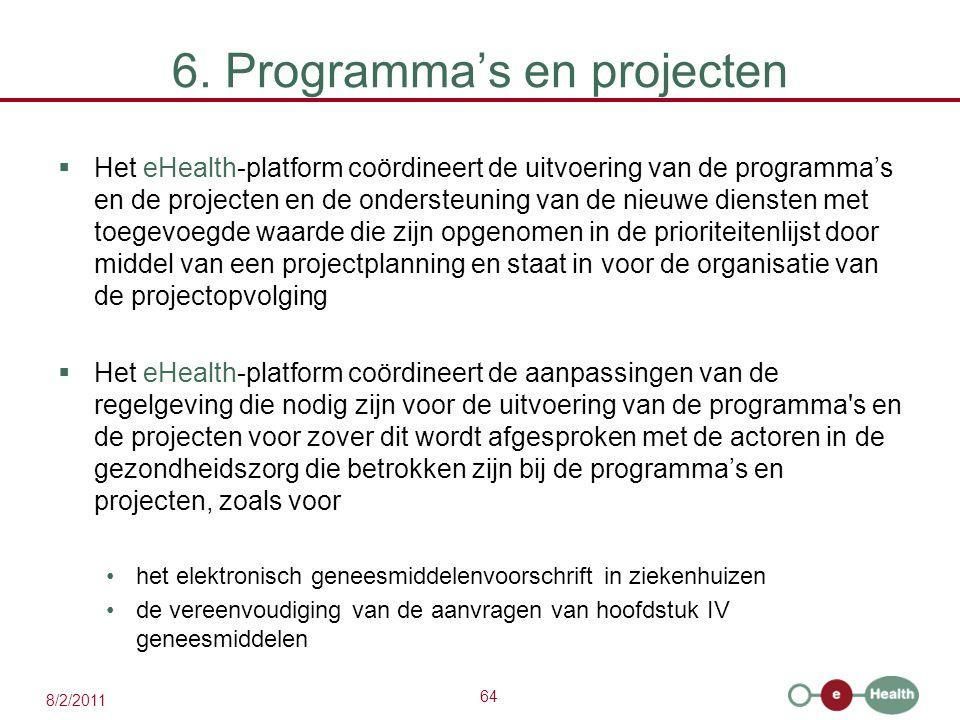 64 8/2/2011 6. Programma's en projecten  Het eHealth-platform coördineert de uitvoering van de programma's en de projecten en de ondersteuning van de