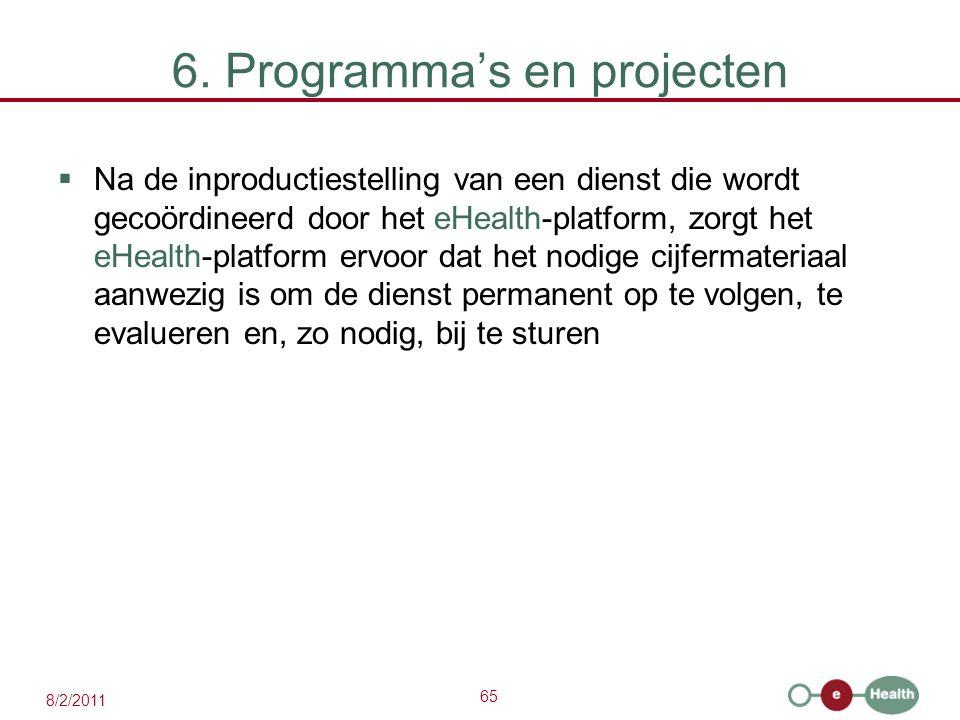65 8/2/2011 6. Programma's en projecten  Na de inproductiestelling van een dienst die wordt gecoördineerd door het eHealth-platform, zorgt het eHealt