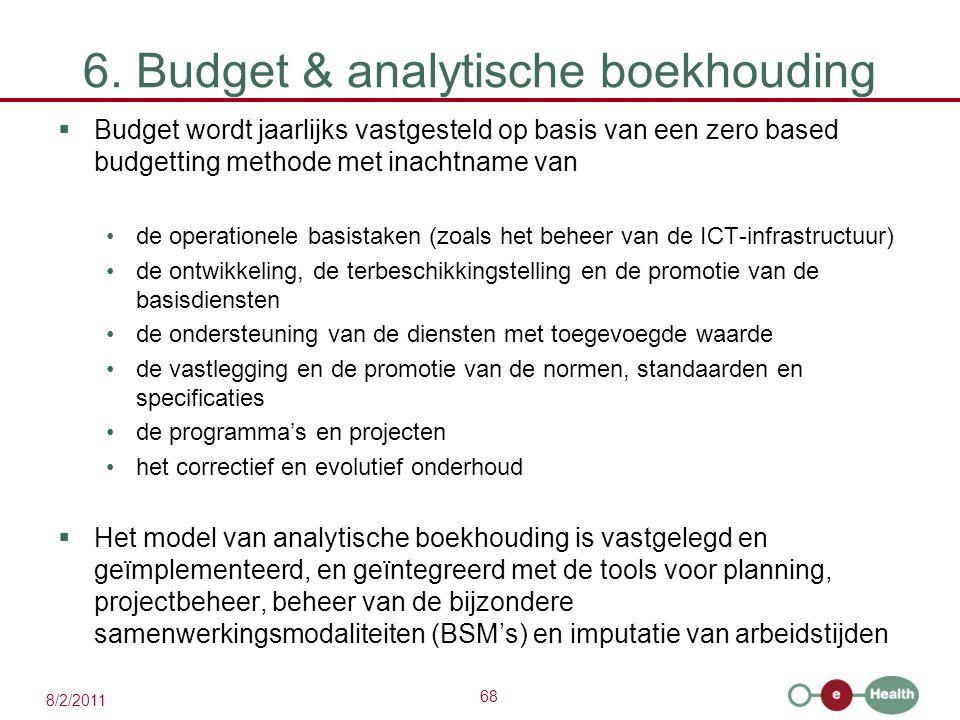 68 8/2/2011 6. Budget & analytische boekhouding  Budget wordt jaarlijks vastgesteld op basis van een zero based budgetting methode met inachtname van