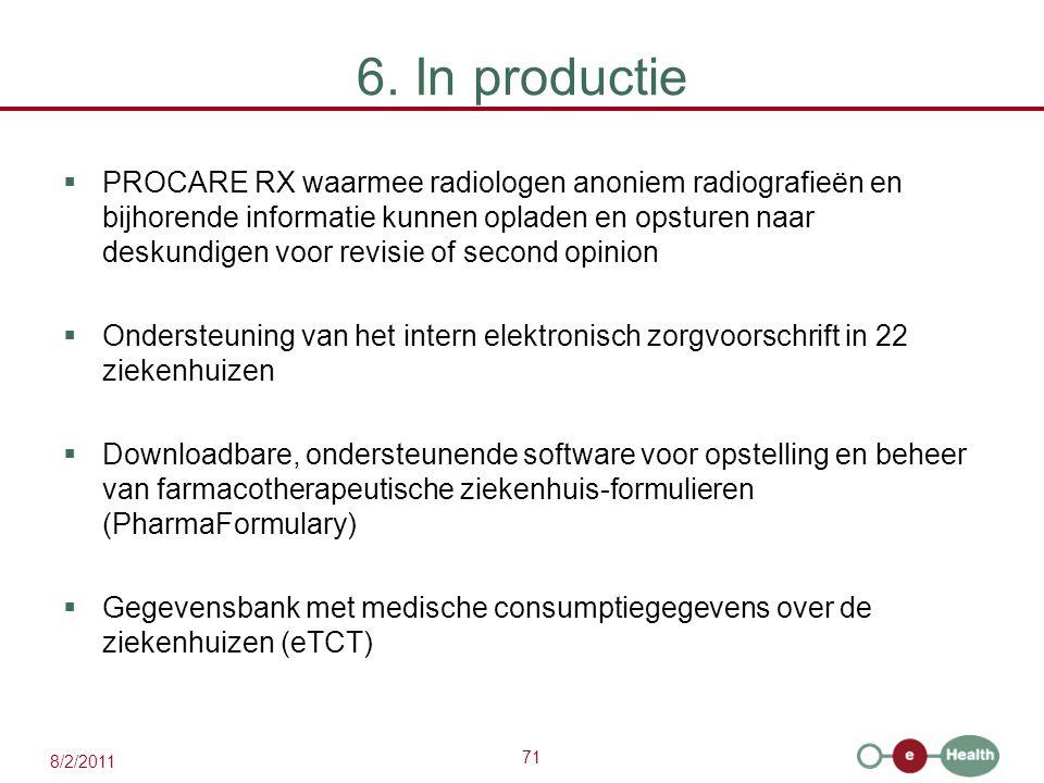 71 8/2/2011 6. In productie  PROCARE RX waarmee radiologen anoniem radiografieën en bijhorende informatie kunnen opladen en opsturen naar deskundigen