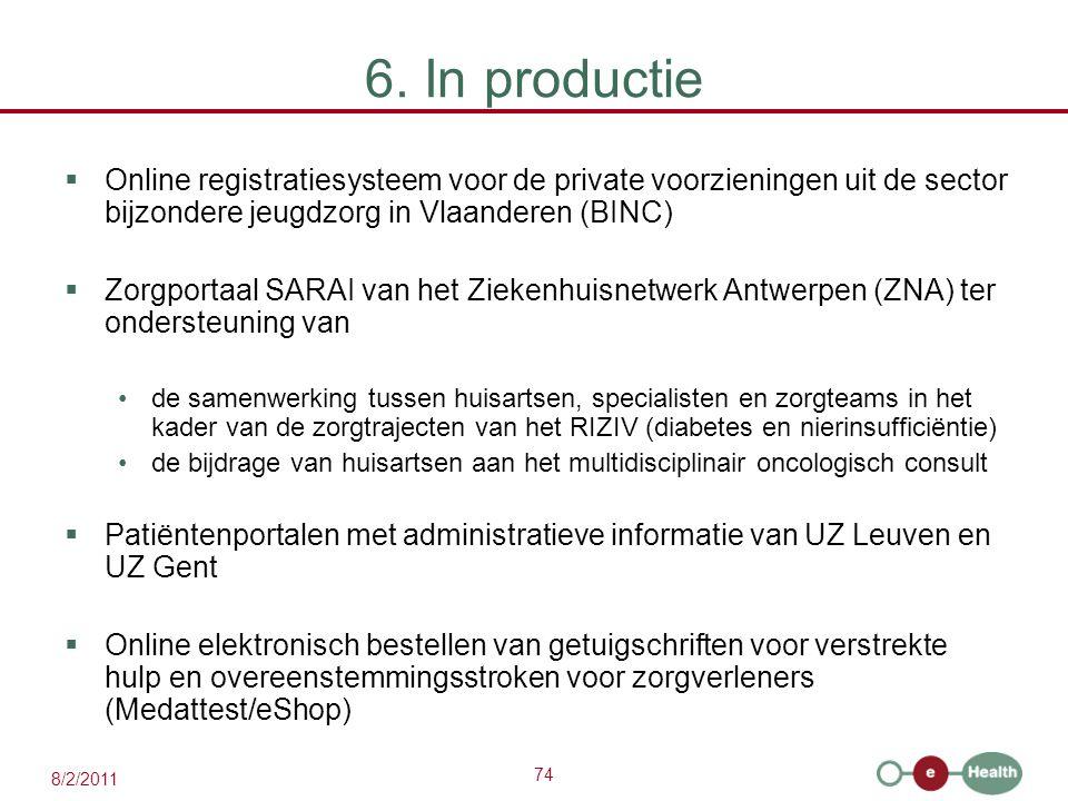 74 8/2/2011 6. In productie  Online registratiesysteem voor de private voorzieningen uit de sector bijzondere jeugdzorg in Vlaanderen (BINC)  Zorgpo