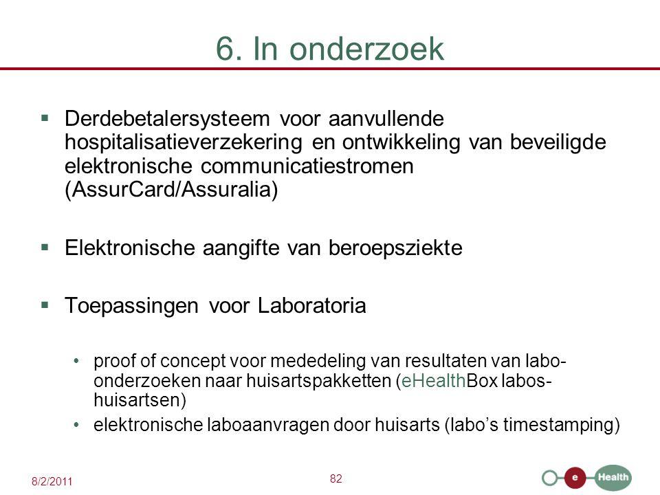 82 8/2/2011 6. In onderzoek  Derdebetalersysteem voor aanvullende hospitalisatieverzekering en ontwikkeling van beveiligde elektronische communicatie