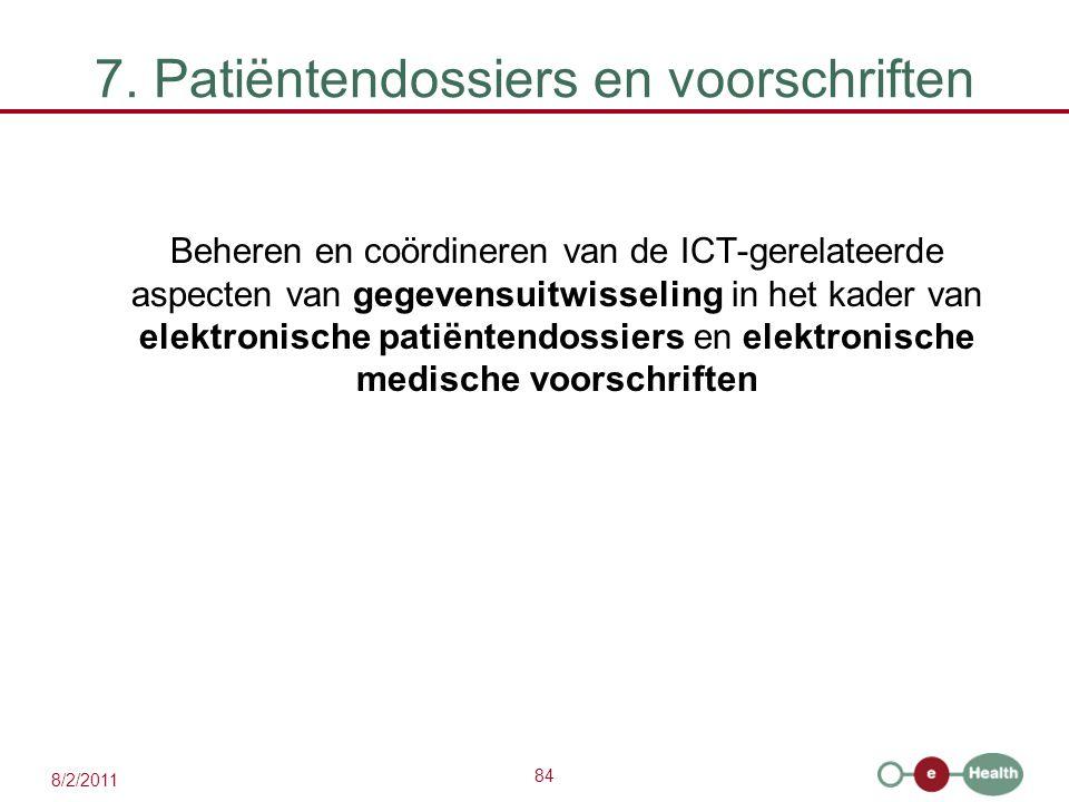 84 8/2/2011 7. Patiëntendossiers en voorschriften Beheren en coördineren van de ICT-gerelateerde aspecten van gegevensuitwisseling in het kader van el