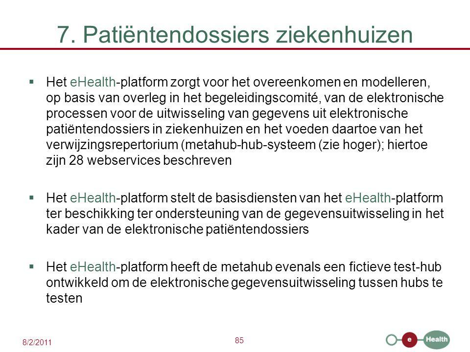 85 8/2/2011 7. Patiëntendossiers ziekenhuizen  Het eHealth-platform zorgt voor het overeenkomen en modelleren, op basis van overleg in het begeleidin