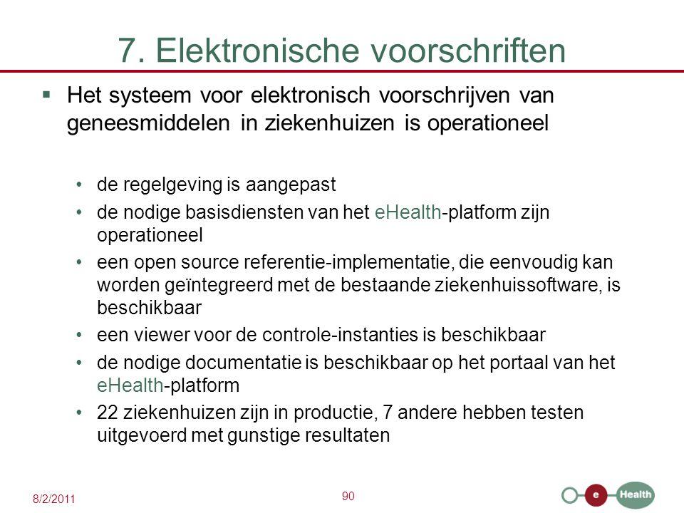 90 8/2/2011 7. Elektronische voorschriften  Het systeem voor elektronisch voorschrijven van geneesmiddelen in ziekenhuizen is operationeel de regelge