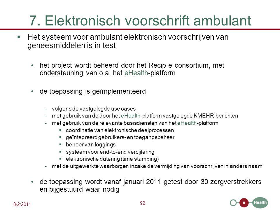 92 8/2/2011 7. Elektronisch voorschrift ambulant  Het systeem voor ambulant elektronisch voorschrijven van geneesmiddelen is in test het project word