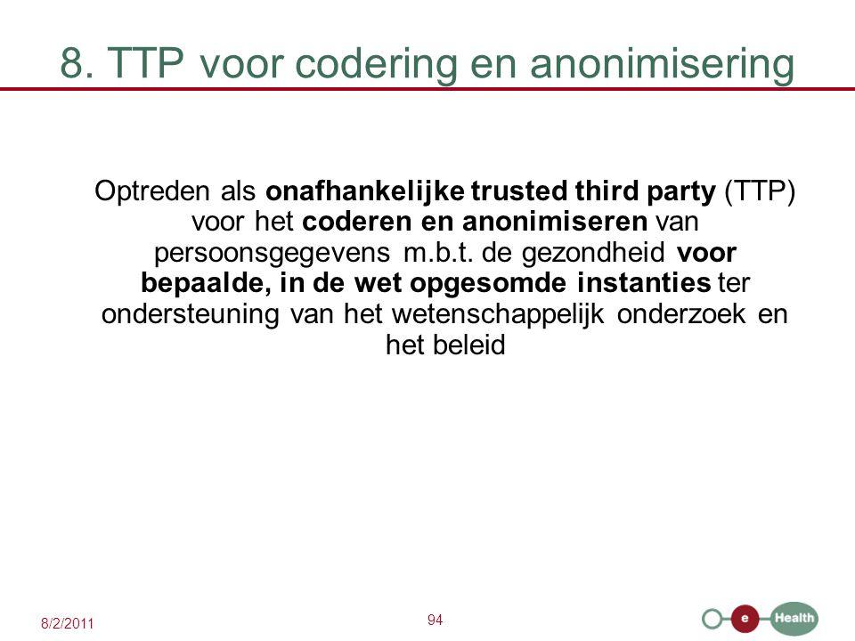 94 8/2/2011 8. TTP voor codering en anonimisering Optreden als onafhankelijke trusted third party (TTP) voor het coderen en anonimiseren van persoonsg