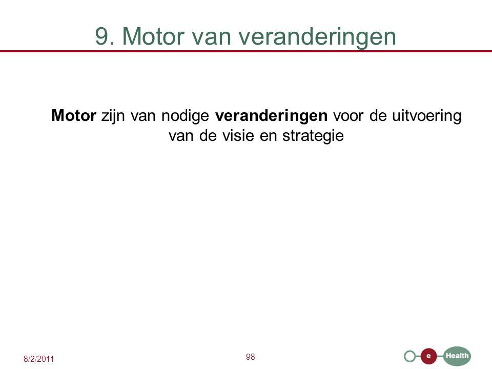 98 8/2/2011 9. Motor van veranderingen Motor zijn van nodige veranderingen voor de uitvoering van de visie en strategie