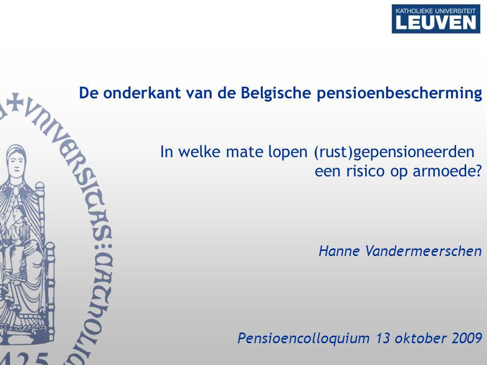 De onderkant van de Belgische pensioenbescherming In welke mate lopen (rust)gepensioneerden een risico op armoede.