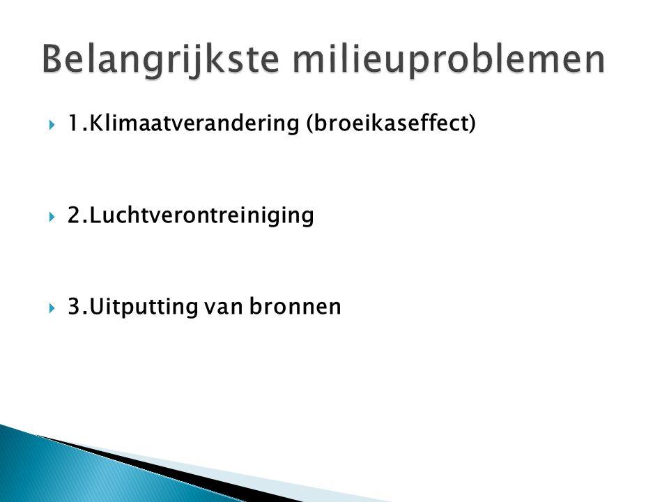  1.Klimaatverandering (broeikaseffect)  2.Luchtverontreiniging  3.Uitputting van bronnen