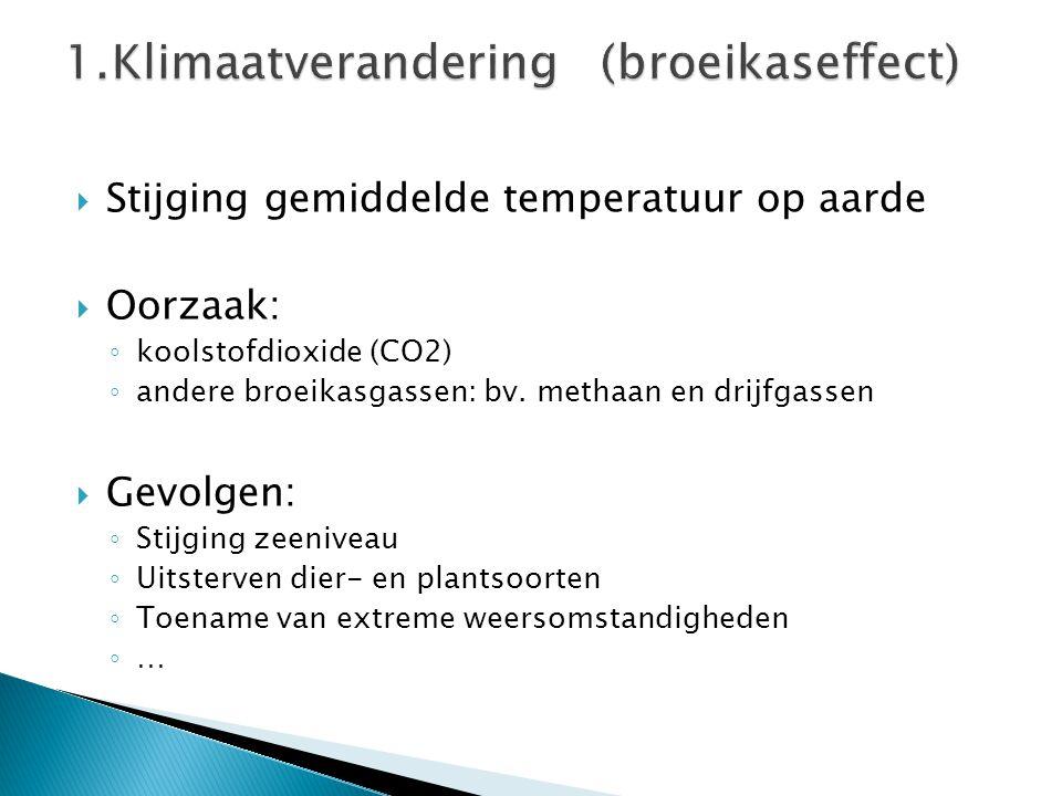  Stijging gemiddelde temperatuur op aarde  Oorzaak: ◦ koolstofdioxide (CO2) ◦ andere broeikasgassen: bv. methaan en drijfgassen  Gevolgen: ◦ Stijgi