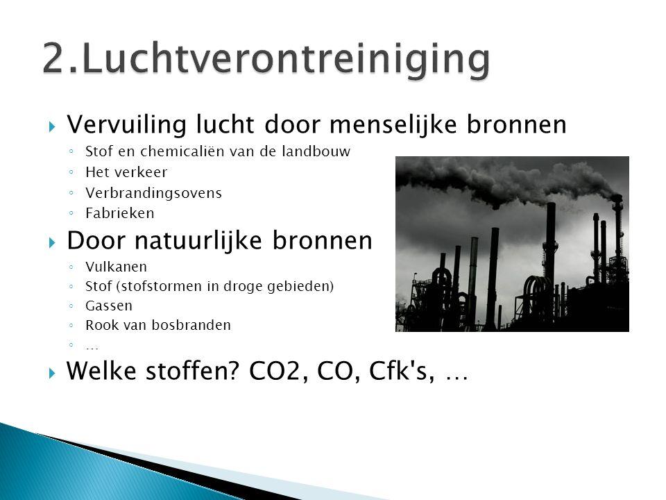  Vervuiling lucht door menselijke bronnen ◦ Stof en chemicaliën van de landbouw ◦ Het verkeer ◦ Verbrandingsovens ◦ Fabrieken  Door natuurlijke bron