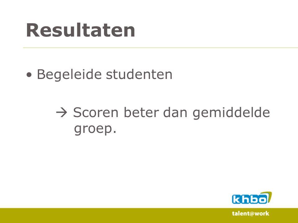 Resultaten Begeleide studenten  Scoren beter dan gemiddelde groep.