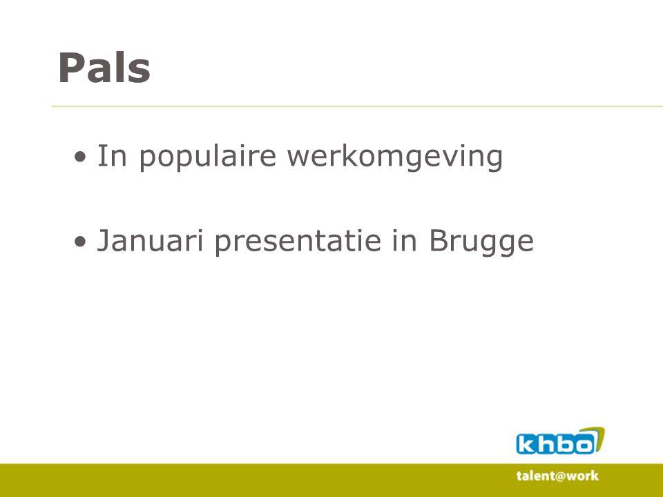 Pals In populaire werkomgeving Januari presentatie in Brugge