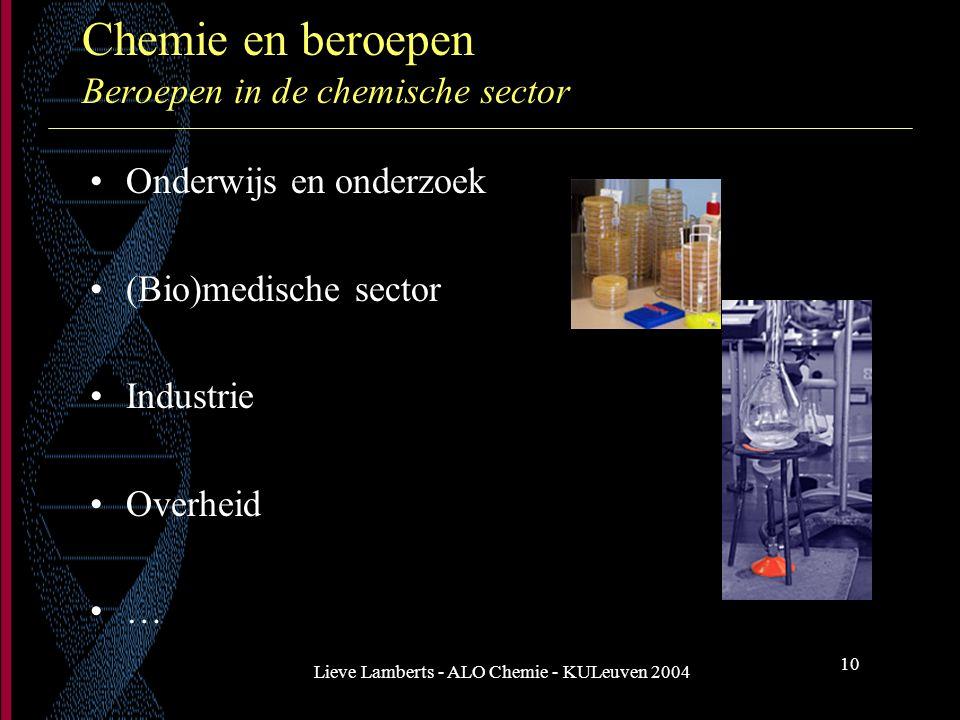 Lieve Lamberts - ALO Chemie - KULeuven 2004 10 Chemie en beroepen Beroepen in de chemische sector Onderwijs en onderzoek (Bio)medische sector Industri