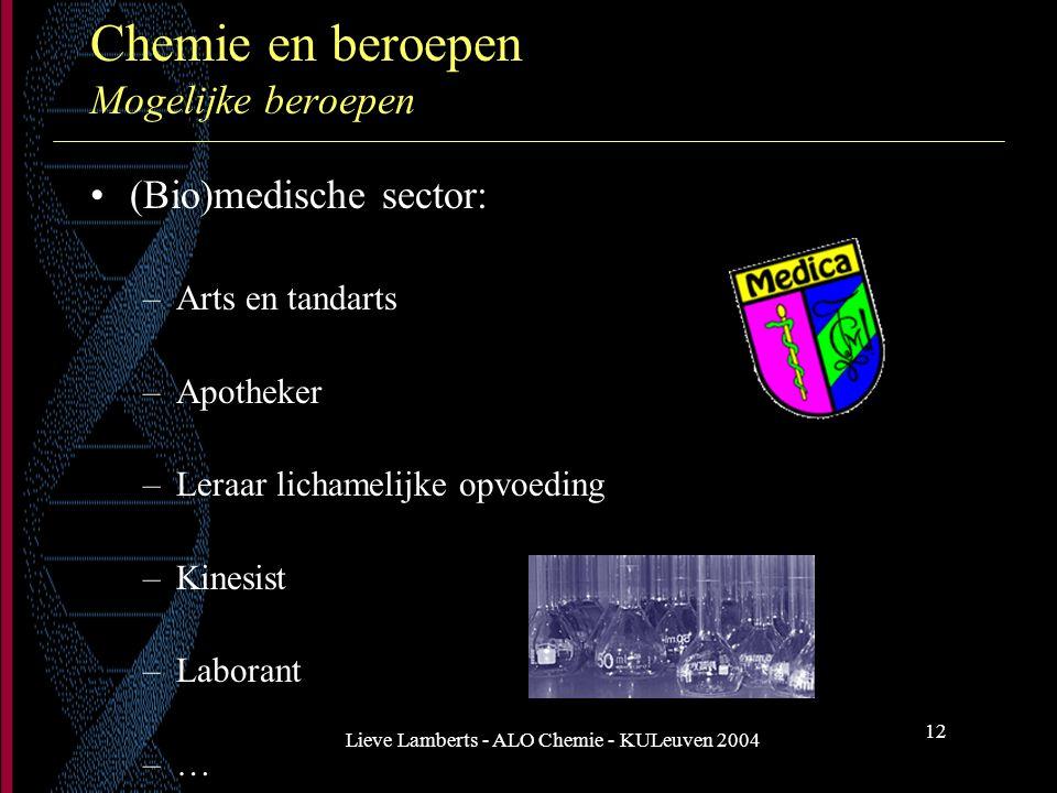 Lieve Lamberts - ALO Chemie - KULeuven 2004 12 Chemie en beroepen Mogelijke beroepen (Bio)medische sector: –Arts en tandarts –Apotheker –Leraar licham