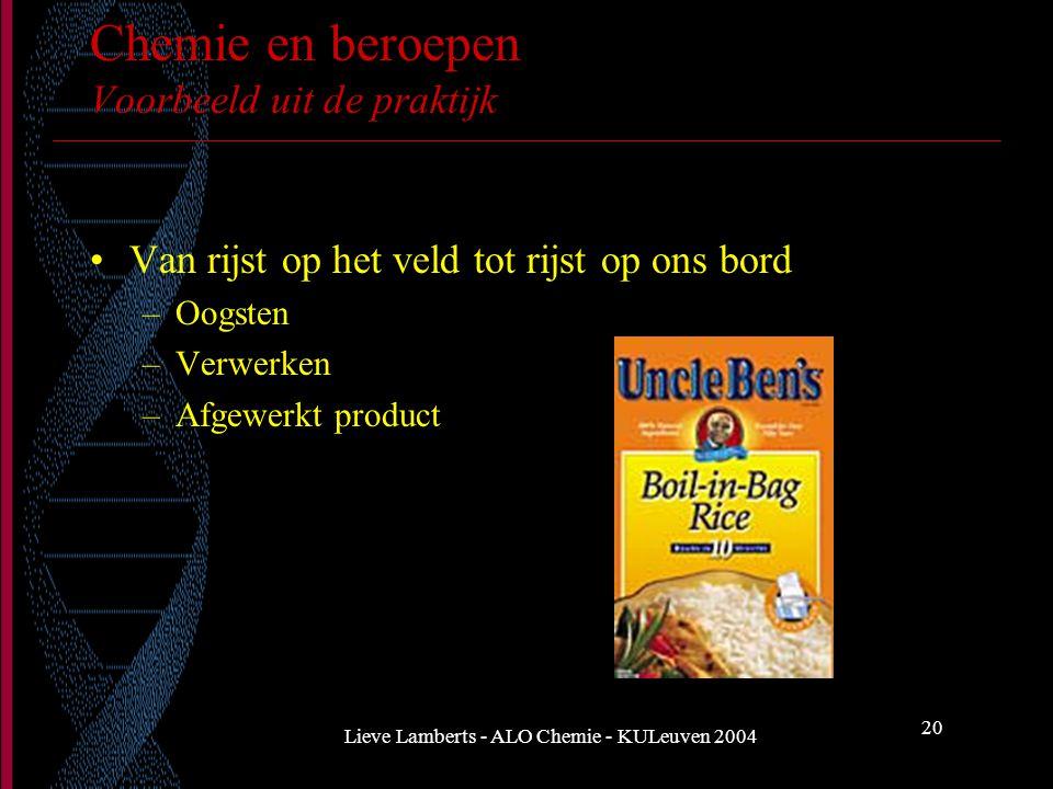 Lieve Lamberts - ALO Chemie - KULeuven 2004 20 Chemie en beroepen Voorbeeld uit de praktijk Van rijst op het veld tot rijst op ons bord –Oogsten –Verw
