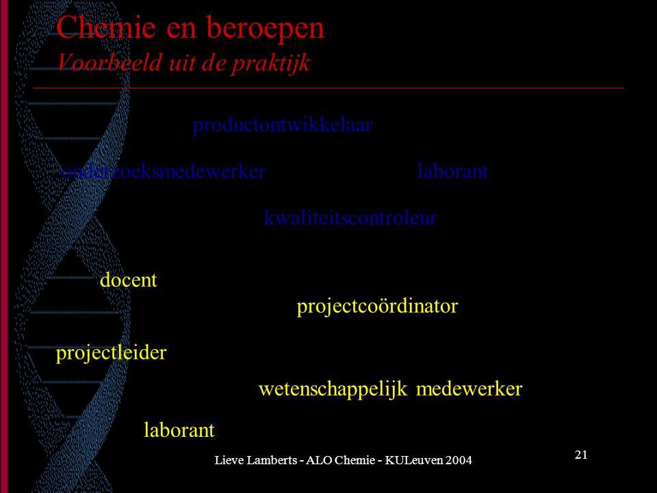 Lieve Lamberts - ALO Chemie - KULeuven 2004 21 Chemie en beroepen Voorbeeld uit de praktijk productontwikkelaar onderzoeksmedewerker kwaliteitscontrol