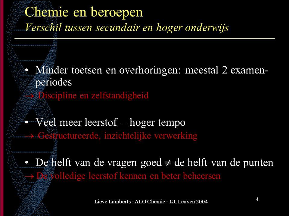 Lieve Lamberts - ALO Chemie - KULeuven 2004 4 Chemie en beroepen Verschil tussen secundair en hoger onderwijs Minder toetsen en overhoringen: meestal