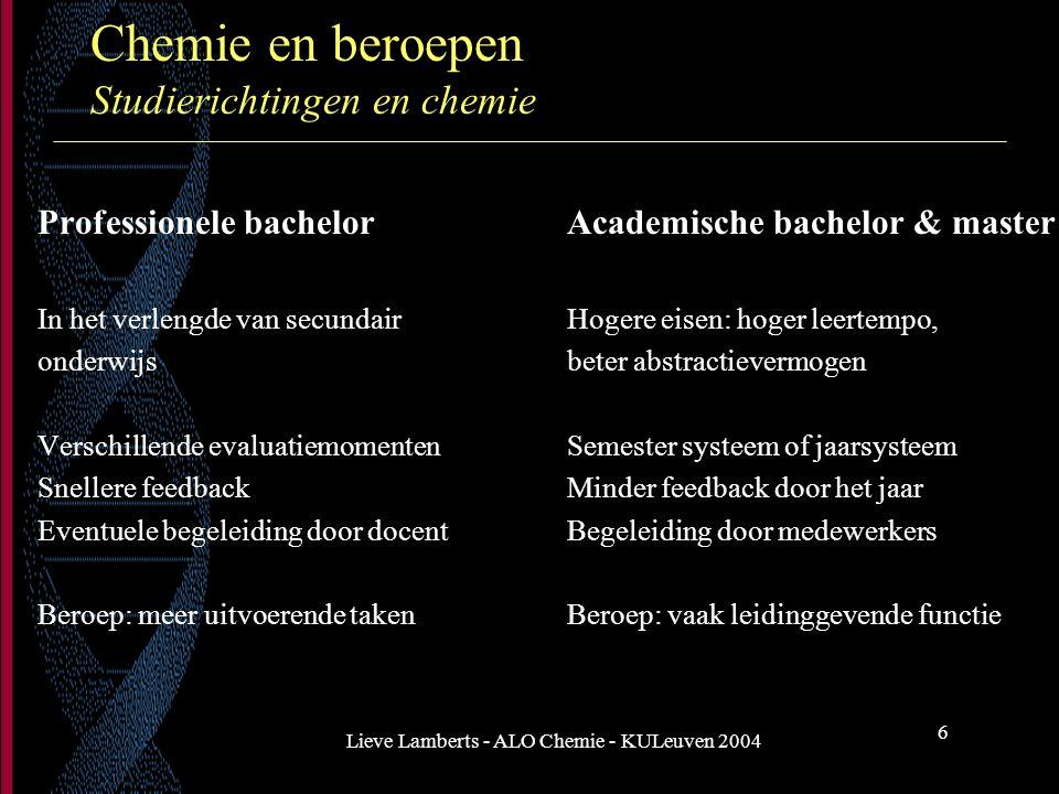 Lieve Lamberts - ALO Chemie - KULeuven 2004 6 Chemie en beroepen Studierichtingen en chemie Professionele bachelorAcademische bachelor & master In het